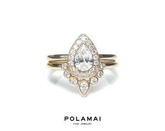 Pear Diamond Engagement Ring Set . Pear Cut Diamond Ring Halo w Matching Nesting Ring . Yellow Rose White Gold . 14k 18k . Wedding . Polamai