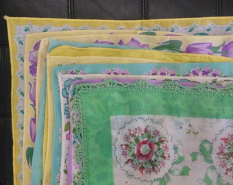 Set of 10 Vintage Handkerchiefs