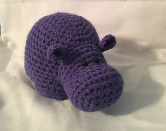 MADE TO ORDER handmade crochet amigurumi art toy stuffed animal toy free-standing hippo plushie