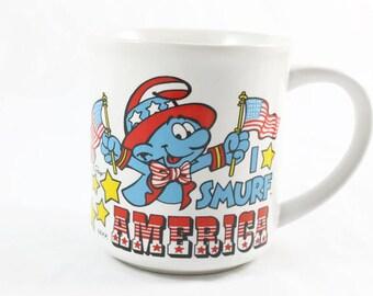 1982 I Smurf America Mug Vintage