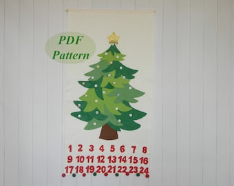 PDF Pattern Christmas Tree Advent Calendar Christmas Countdown Felt advent calendar Holiday Countdown Easy sewing pattern  Instant Download