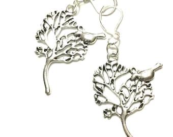 Silver Dangle Earrings, Bird in a Tree Antique Silver Earrings, Gift for Her, Silver Drop Earrings, Nature Lover Gift, Tree Drop Earrings