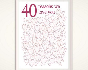 40th Birthday Gifts for Woman - 40th Birthday Prints, For Sister, For Her, For Friend, PRINTABLES, Party Decorations, Guest Book, DOWNLOAD
