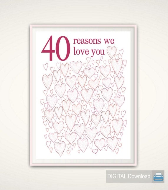 40th Birthday Gifts For Woman 40th Birthday Prints For