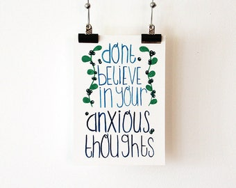 Mental Health Anxiety Quote - Anxious Thoughts - Fine Art Print A5