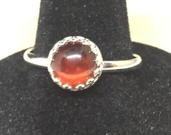 Carnelian Sterling Silver Ring With Fancy Bezel
