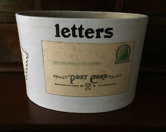Vintage mail bin, upcycled with paint and vintage postcard and stamps,  1950's era.