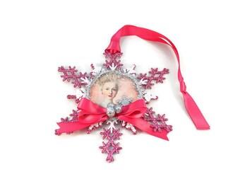 Christmas Ornament, Marie Antoinette, Snowflake, Package Topper,  Christmas Tree Ornament, Christmas Decor, Christmas Decoration, Handmade