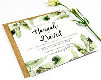 Botanical Leaves Square Wedding Invitation 'RSVP' 'Save the Date'