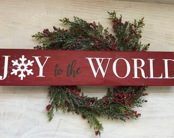 Joy to the World Wooden Sign- Christmas Sign- Rustic Holiday Sign