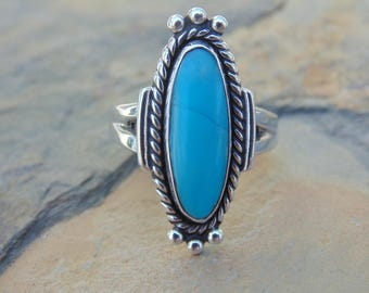 Bell Trading Post - Sterling Silver and Oval Turquoise Ring - Size 5.25