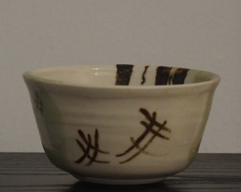 Hand painted Japanese style Oribe ware bowl