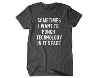Geek Gift, Nerd shirt, Computer gift, Punch Technology,  gift for him, and her, hilarious tees