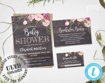 Baby Shower Invitation Template Set, Rustic Floral Baby Shower Template, Baby  Shower Invites With