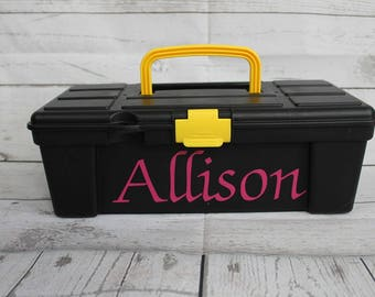 Personalized Plastic Storage box with name//Monogrammed Storage Box//Monogrammed ToolBox//Personalized Tool Box