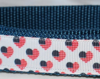 "Patriotic Heart Design Dog Collar - Side Release Buckle (1"" Width) - D-Ring Martingale Option Available"