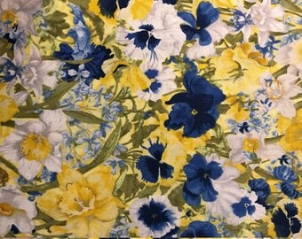Yellow, White and Blue Flowers Walking on Sunshine by Joanne Porter for Wilmington Prints, 100% Cotton
