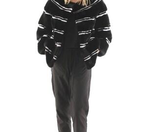 Luxury gift /Black And White Mink fur coat / Fur jacket Full skin Starlet