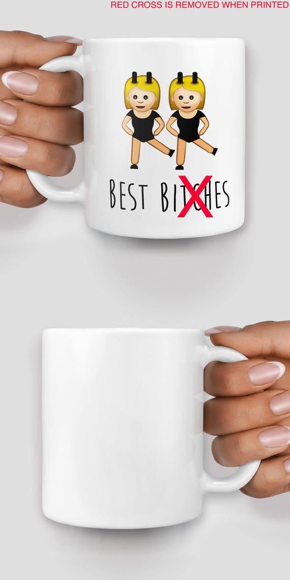 Best b*tches large emoji mug - Christmas mug - Funny mug - Rude mug - Mug cup 4P035