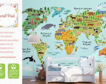 World map for kids etsy animal world map wallpaper with landmarks non woven wall covering free shipping publicscrutiny Images