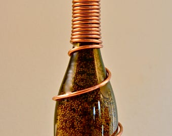 Wine Bottle Bird Feeder (Wrapped Copper)