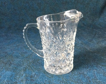 Vintage Clear Glass Prescut Pineapple Creamer, Small Anchor Hocking Pitcher
