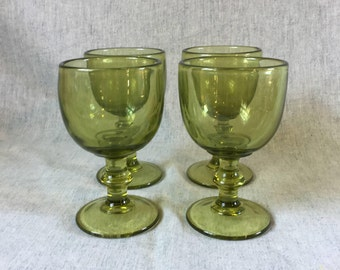 Vintage Avocado Green 10 Ounce Water Goblets, Wine Goblets, Set of 4