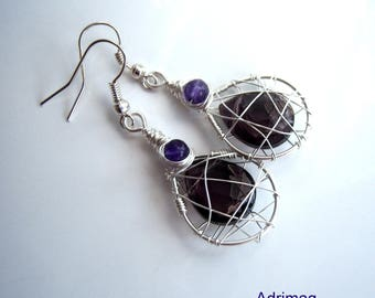 Wire wrap with agate and purple briolette earrings purple