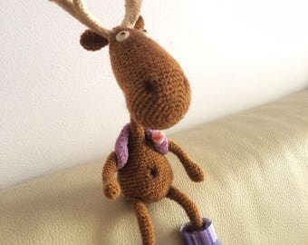 Amigurumi crohet deer with antlers toy