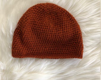 Dark Orange Crocheted Beanie