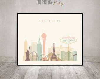 Las Vegas art print, Las Vegas poster, Wall art, Las Vegas skyline art, City poster, Typography art, Home Decor, Gift, ArtPrintsVicky
