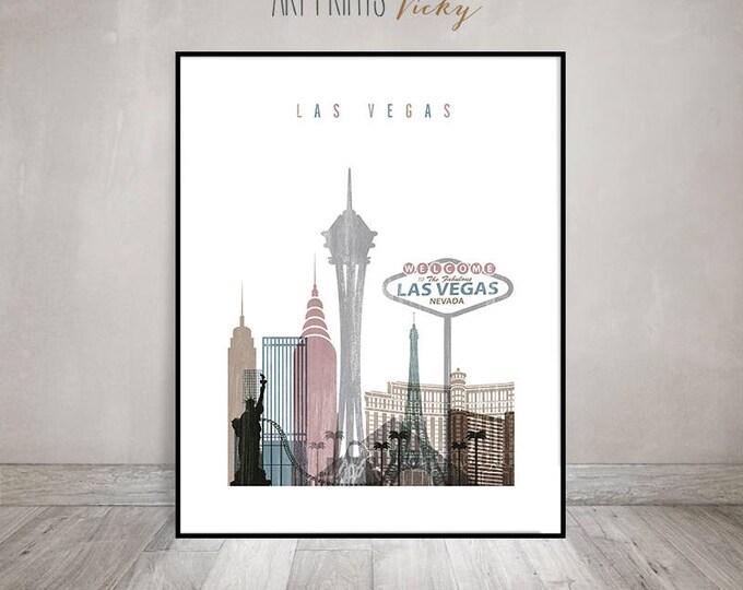 Las Vegas skyline art print, Poster, Distressed Wall art, Travel decor, Nevada art, City poster, Gift, Home Decor, ArtPrintsVicky