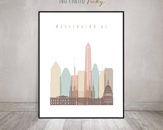 Washington DC art print, Washington DC skyline, Travel poster, Wall art, housewarming gift, Travel decor, Home Decor, ArtPrintsVicky