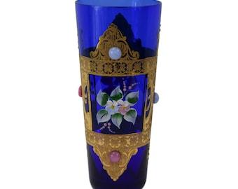 Italian Vintage Murano Cobalt Blue Glass Orangeade Goblet - Enamel Flower & 24K Gold Glass - Handmade Venetian Art Glass