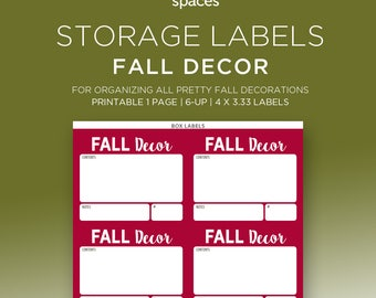 Storage Labels - Fall Decorations & More Organizing Labels - PRINTABLE Labels