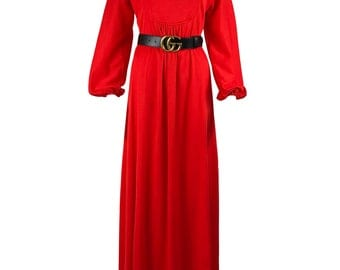 Vintage 1970s Red Maxi Dress Retro Shift Prom Bell Sleeve Day Style