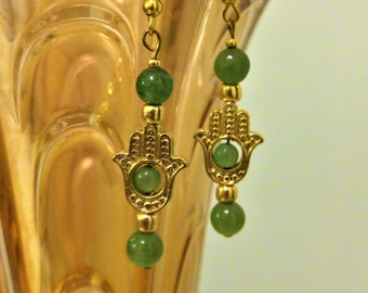 Hamsa Earrings/Green Hamsa Earrings/Semi Precious Aventurine Earrings/Green and Gold Earrings/Good Fortune Earrings/Protection Earrings