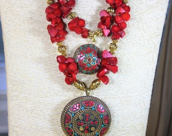 Tibetan pendant necklace, coral necklace, red necklace, multi strand necklace