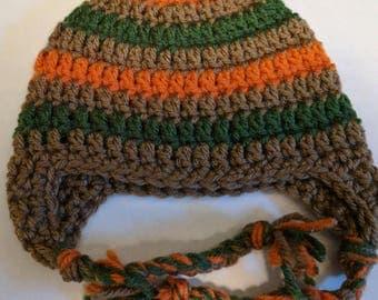 Newborn Striped Hat/Crochet Hat/Winter Hat/Crochet Earflap Hat/Baby Hat