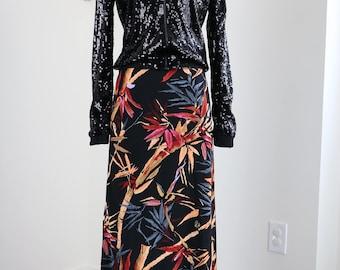 "1970s Skirt - Black Vintage Floral Bamboo Print A-line Maxi Skirt - Small/Medium - Elastic Waist 25"" - 30"" - Groovy Funky Dramatic"