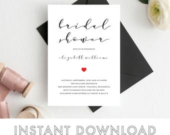Bridal Shower Invitations Templates Invitation Printable Wedding Template