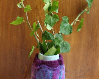 Felted Vase In Maroon, Purple And Blue With White Silk
