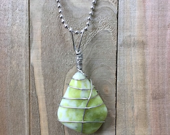 Serpentine lime green stone pendant necklace. Kundalini Jewelry. Enlightenment necklace. Serpent Shakti power Chakra cleansing, Yoga jewelry