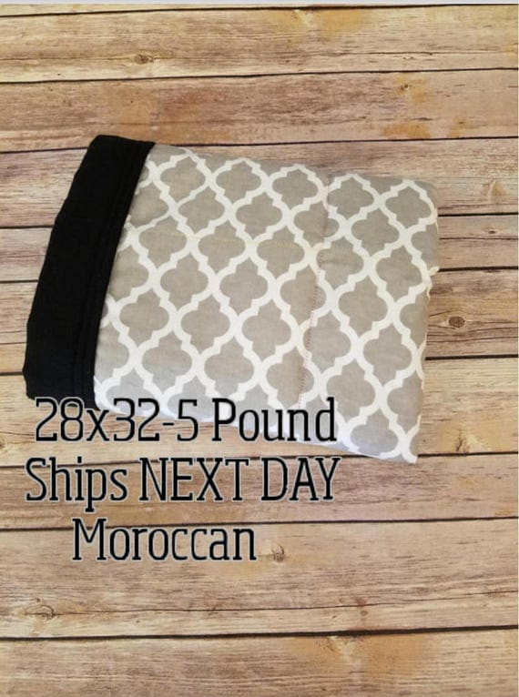 Moroccan, 5 Pound, WEIGHTED BLANKET, Ready To Ship, 5 pounds. 28x32 for Autism, Sensory, ADHD, Calming, Anxiety,