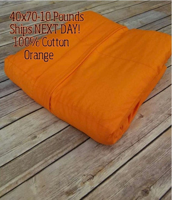 Weighted Blanket, 10 Pound, Orange, 40x70, READY TO SHIP, Twin Size, Adult Weighted Blanket, Next Business Day To Ship