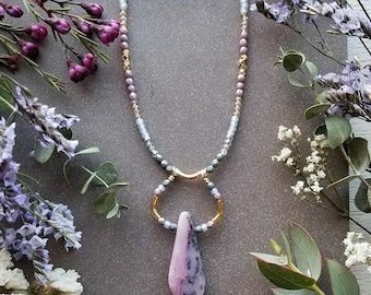 Pink Opal Beaded Loop Necklace in Gold >> Light Pink Opal w/Pink, Gray, and Gold Accents > Boho, Gemstone Jewelry
