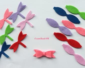 11 Felt Bows , Felt Bows Unassembled, Hair clip bows,Applique,  die cut, felt supplies, felt crafts, felt shapes