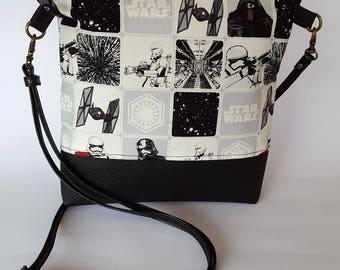 Star Wars Bag, crossbody bag, Small Bag,Faux leather Bag,Fabric Bag,Shoulder bag,Black crossbody bag,Star Wars fabric,Star wars shoulder bag