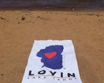 "Tahoe Beach Towel - Cotton - 30"" x 60"" - Heart in Tahoe"