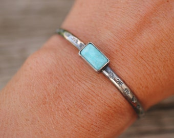 Stamped Turquoise Cuff   Sterling Silver